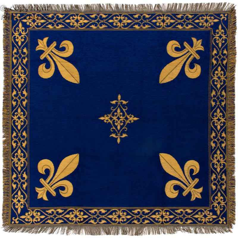 tapis ou nappe de table bleu fleur de lys or magellys. Black Bedroom Furniture Sets. Home Design Ideas