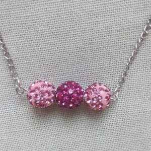 Collier rose strass chaîne argent