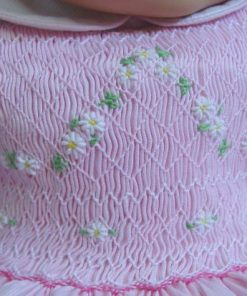 Robe à smocks rose bébé