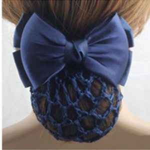 Barrette noeud satin noir ou bleu marine + filet chignon