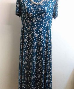 THERESE : Robe femme grande taille coton fleurie noire, bleu ou rouge