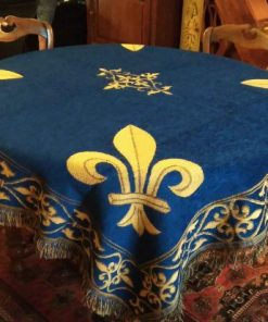 Tapis ou nappe de table bleu fleur de lys or