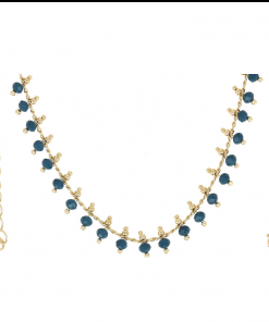 Collier plaqué or pierres bleues